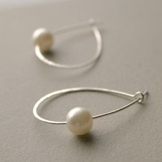 hoop EARRINGS sterling silver pearl hoops by MeadowbelleMarket, $19.00