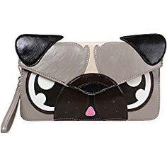 Gray Pug Faux Leather Animal Face Thin Envelope Style Fashion Clutch Handbag