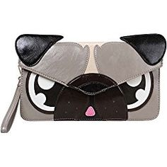 Gray Pug Faux Leather Animal Face Thin Envelope Style Fashion Clutch Handbag