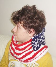 American Flag Hand Knit Scarf Mens Cowl scarf  by earflaphats, $54.99