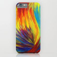 Buy RAINBOW EXPLOSION - Vibrant Smile Happy Colorful Red Bright Blue Sunshine Yellow Abstract Painting  by EbiEmporium as a high quality iPhone & iPod…
