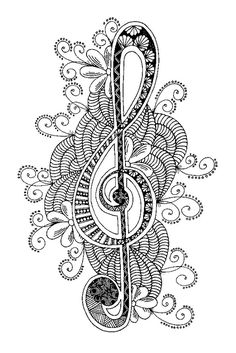Adult coloring page Treble clef