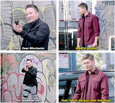 """10x02 Reichenbach [gifset] - """"Yeah. You're that guy, from that thing..."""" - snarky demon Dean Winchester, Cole Trenton, Supernatural"""