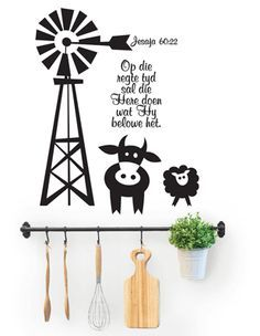 Regte Tyd Windpomp Afrikaans www.stickart.co.za Vinyl Wall Art, Wall Decals, Diy Pallet Wall, Pallet Signs, Wood Block Crafts, Afrikaanse Quotes, Tinta China, Card Sentiments, Light Of The World