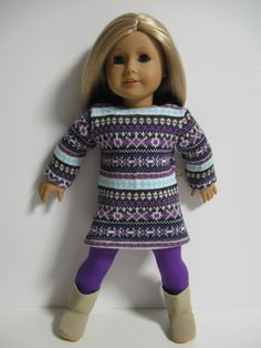 American Girl Doll Pastel Fair Isle Dress