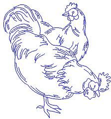 free images to sew hens or roosters | Roosters & Hens Redwork design #2 - $2.00