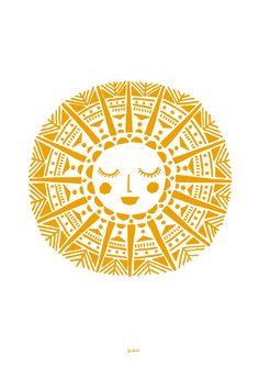 Maya Sun Giclee Print In Yellow Ochre by Lu West Lu West – Maya Sun Screen Print in Yellow Ochre Sonne Illustration, Stars And Moon, Sun Moon, Sun Drawing, Sun Art, Art Graphique, Silk Screen Printing, Printing Ink, Grafik Design
