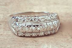 Vintage  Diamond Ring in 14K White Gold, Diamond Band, Engagement, Wedding,Anniversary by EclairJewelry on Etsy