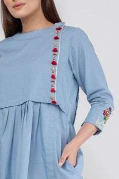 Summer/Spring Collection 2020 - Khaadi has a wide range of Ready to wear, Luxury Pret, Unstitched dresses for women and men Sleeves Designs For Dresses, Dress Neck Designs, Neckline Designs, Indian Fashion Dresses, Pakistani Fashion Casual, Lengha Blouse Designs, Kurta Designs, Simple Pakistani Dresses, Pakistani Dress Design