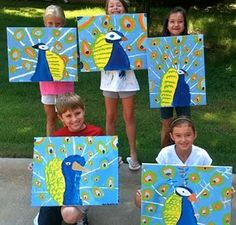 peacock paintings - great scale! To use after our field trip to Richardson Rock farm where the peacocks run free!