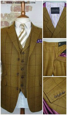 Farb- und Stilberatung mit www.farben-reich.com - Tweed 3 piece suit. Features a plum satin lining, with purple and gold stripe in jacket sleeves and waistcoat. Visit our website for more glorious tweed... http://www.tweedaddict.com/