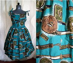 Rare 1950's Alfred Shaheen Teal Green Cotton by modernnostalgia80, $248.00