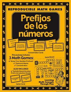 PREFIJOS DE LOS NUMEROS - Spanish Math Games, Activities and Lesson PlansThis 27 page game packet increases your students' abilities to identif...