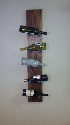 Rustic Red Oak Wine Rack Wall Hanging Rail by FarmhouseWoodAndIron, $140.00