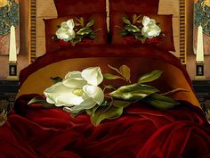 Luxury Burgundy Red Brown Bedding White Magnolia Queen or King Duvet Cover Set