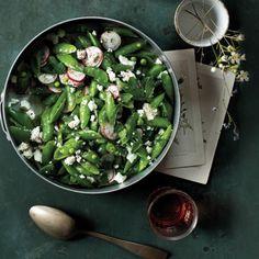 Sugar Snap Salad Recipe with sumac, feta and radish