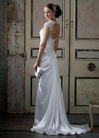 Slim Charmeuse Gown with Lace Keyhole