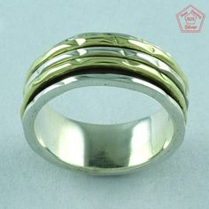 Hammered Look Designer 925 Sterling Silver New Arrival Spinner Ring S.7 US R2781 #SilvexImagesIndiaPvtLtd #Spinner #AllOcassion