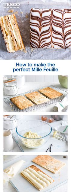 Serve up a stylish pud with our step-by-step recipe for how to make mille feuille. This classic French dessert of rich crème pâtissière sandwiched between crisp, flaky puff pastry is a great way to show off your baking skills. Desserts Français, Puff Pastry Desserts, Fancy Desserts, Pastry Cake, Pastries Recipes, Puff Pastry Recipes Savory, Puff Pastries, Pudding Desserts, Sweet Pastries