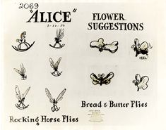 Vintage Disney Alice in Wonderland: Flower Suggestions Model Sheet - Rocking Horse Flies and Bread & Butter Flies - could be tattoos Alice In Wonderland Flowers, Alice And Wonderland Tattoos, Alice In Wonderland Illustrations, Wonderland Party, Disney Sketches, Disney Drawings, Drawing Disney, Disney Tattoos, Arte Disney
