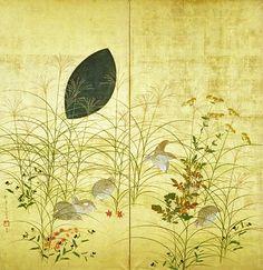 秋草鶉図 (Autumn Flowers and Quails) detail, Sakai Hoitsu (酒井抱一), Edo period Yamatane Museum of Art