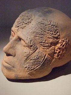 brown - head - sculpture- Daniel Rhodes