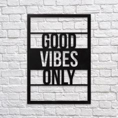 Good Vibes Only #metal #wallart #decoration #decor #homedecor #home #idea #gift #shopping #metalart #wallhanging #walldecor #interior #steel #decorations #interiors #pinterest #raayt #sign #wallsign #diy #homedecorationidea #ideas #product #feather #feathers #geometric #geometry #minimal #minimalist #office #good #vibes #only #typo #quote #quotes