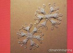 DIY snowflakes from coffee plastic spoons - fiocchi di neve fai da te con palettine del caffé - Dimanoinmanina