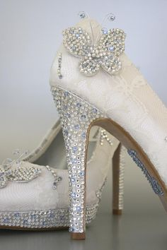 Wedding Shoes Ivory Peeptoes with Lace by DesignYourPedestal