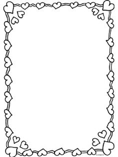 a nice frame to use for drawing or writing projects Valentine Love, Valentine Day Crafts, Page Borders Design, Border Design, Borders For Paper, Borders And Frames, Coloring Books, Coloring Pages, Paper Frames