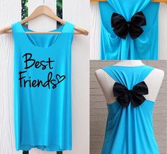 Best friend forever Bow Tank Top. Racerback bow. by TheClover88