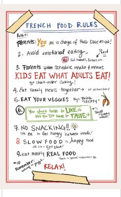 French food rules for kids (from French Kids Eat Everything) French Kids, French Food, French People, French Stuff, French Class, Rules For Kids, Baby Led Weaning, Think Food, Thinking Day