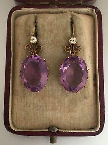 A Wonderful Pair Of Amethyst & Old Mine Cut Diamond Drop Earrings Circa 1800's