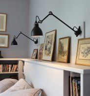 The Lampe Gras wall light attaches to a rail giving it a strong graphical expression. Shop contemporary and designer lighting today at Utility Design. Home Bedroom, Bedroom Wall, Bedroom Decor, Bedroom Corner, Lampe Gras, My Room, Wall Sconces, Wall Lamps, Ceiling Lamp