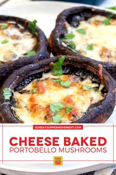 Our Baked Portobello Mushrooms with Cheese are easy to make and stuffed with flavor from garlic, herbs, and a bubbly cheese topping. Easy prep with just 20 minutes of bake time and simple ingredients! #SundaySupper #mushrooms #mushroomrecipe #easyrecipe #easydinner #dinnerrecipe #sidedishrecipe #appetizerrecipe #portobellomushrooms Best Appetizer Recipes, Supper Recipes, Finger Food Appetizers, Best Appetizers, Side Dish Recipes, Finger Foods, Baked Portobello Mushrooms, Baked Mushrooms, Stuffed Mushrooms