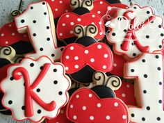 Ladybug Lady Bug First Birthday Cookies by DolceCustomCookies