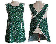 Plus Size Apron Smock Full Coverage Wrap  Green by timelessaprons, $38.00