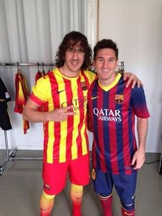 Puyol With Messi Wearing New FCBarcelona Kit 2013/2014