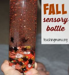 October Fall Sensory Bottle A great first baby activity is to make a sensory bottle. Find out how to make a fall sensory bottle for little ones! October Fall Sensory Bottle A great first baby activity is to m Halloween Activities, Autumn Activities, Sensory Activities, Infant Activities, Activities For Kids, Sensory Play, Baby Sensory, Halloween Crafts, Fall Sensory Bin