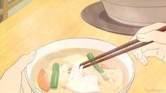 ☆**this is an animated gif~ please click to see the animation!**☆ delicious anime food, eating soup with ramen noodles with chopsticks, yummy steaming hot soup anime gif