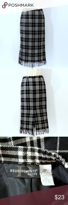 Requirements Long Black Grey Plaid Fringes Skirt Up for sale in great condition Vintage Requirements Long Black Grey Plaid Fringes Skirt Scottish Style. Size 10Petite.  Check out my closet, bundle and give me your offer! Requirements Skirts