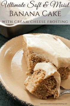 There are so many things to love about our Super Moist Banana Cake with Cream Cheese Frosting, from the supremely soft and smooth cake to an incredible frosting to the delightful banana flavor with a hint of cinnamon…just too many things to list!! DelectableCookingandBaking.com | #bananacake #bananadessert #creamcheesefrosting #easydesserts