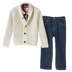Toddler Boy Boys Rock Marled Sweater, Plaid Shirt & Jeans Set, Size: 2T, Natural