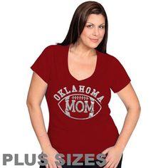 Oklahoma Sooners Ladies Football Mom Premium T-Shirt - Crimson