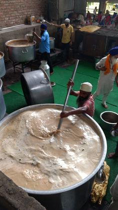 Making chai in the Kitchen at Golden Temple.
