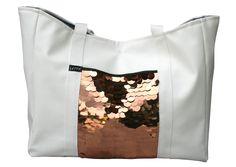 LETTY Kunstleder Tasche, Strandtasche, Dawanda, weiß, Boho, Kupfer, Pailletten