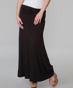 Black Stretch Maxi Skirt by Magic Fit #zulily #zulilyfinds