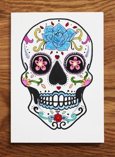 Sugar Skull / Day of the Dead A6 card with by TheIllusiveEye, £10.00