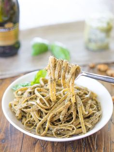 A bright #vegan pesto balanced with earthy walnuts and sunflower seeds. Perfect for spring pasta salads.