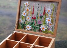 this is beautiful!! // Tea box with flower meadow embroidery by Indrasideas on Etsy, $75.00